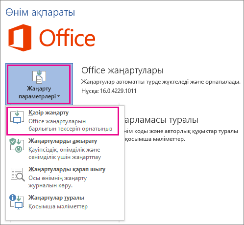 Word 2016 бағдарламасындағы Office жаңартуларын қолмен тексеру