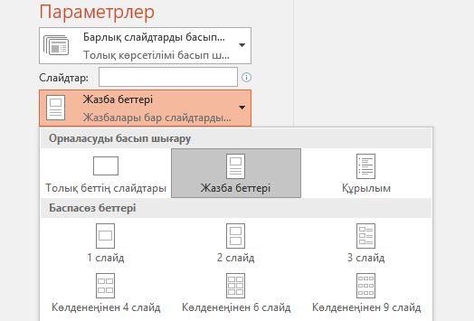 жазбаларды басып шығару параметрінің скриншоты