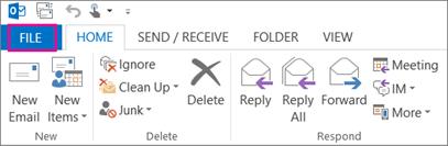 Outlook жұмыс үстелі таспасының сыртқы көрінісі.