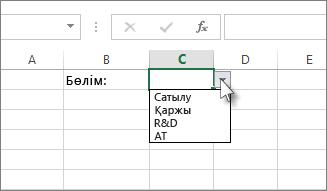 Excel бағдарламасындағы ашылмалы тізім үлгісі