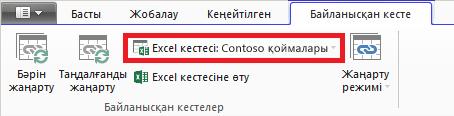 Excel кестесін көрсететін байланыстырылған таспа