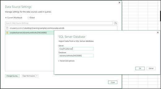 Excel Power BI қызметіндегі деректер көзі параметрлерінің жетілдірілген мүмкіндіктері