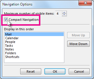 탐색 옵션 대화 상자의 탐색 압축 명령