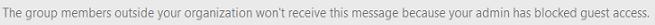 게스트 차단한 받았습니다 라는 메시지가 표시 될 수 있는 게스트 그룹에 첨부 파일을 보낼 때