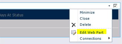 웹 파트 메뉴의 웹 파트 편집 명령