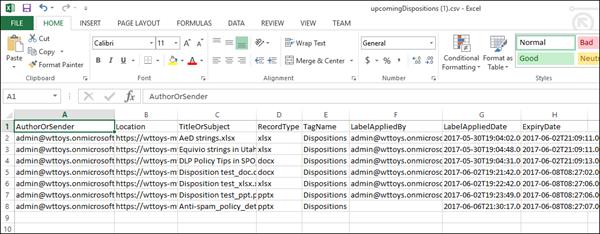 Excel에서 내보낸된 폐기 데이터