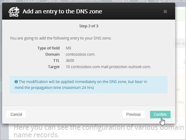 OVH MX 레코드 Confirm_C3_201769183928 선택