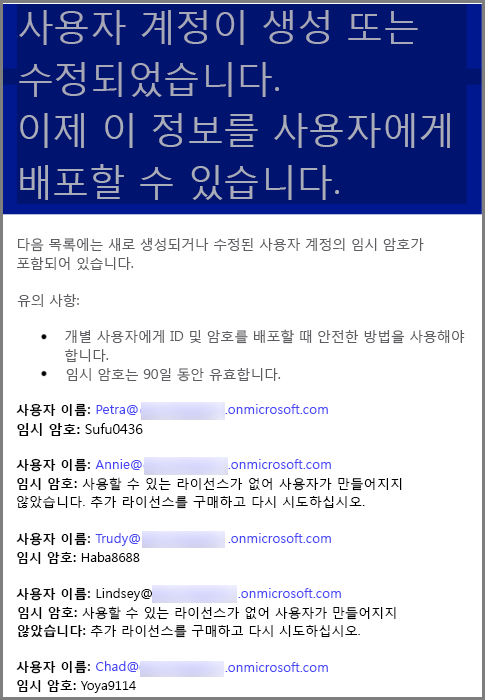 A sample e-mail with user credential information