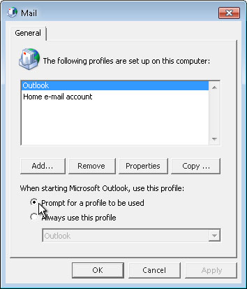 메일 대화 상자의 사용할 프로필 선택 명령