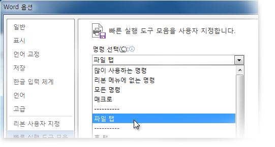 파일 탭의 명령을 추가하여 빠른 실행 도구 모음 사용자 지정
