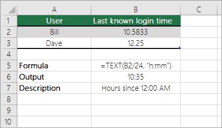예: 십진수에서 표준 시간으로 시간 변환