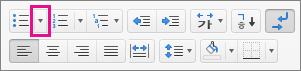글머리 기호 아이콘 옆의 화살표를 클릭하여 글머리 기호를 선택하거나 추가합니다.