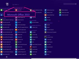 이름별로 Office 응용 프로그램 찾기