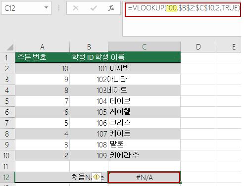 조회 값이 배열의 가장 작은 값보다 작을 경우 VLOOKUP의 N/A 오류