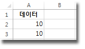 Excel 워크시트의 A2 및 A3 셀의 데이터