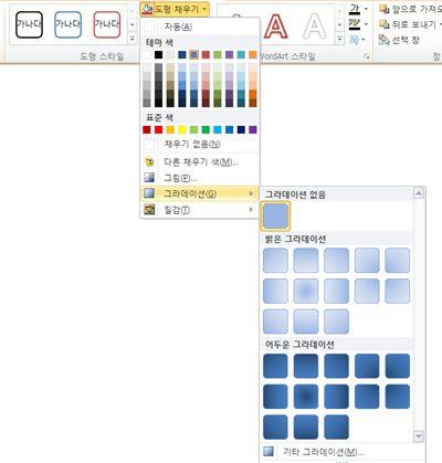 도형 채우기 메뉴를 통해 사용할 수 있는 그라데이션