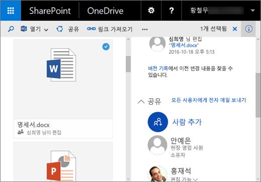 SharePoint Server 2016 기능 팩 1에서 비즈니스용 OneDrive의 세부 정보 창 스크린샷