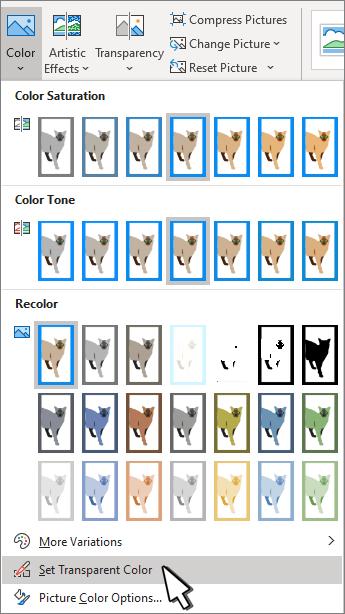 투명도 설정이 선택 된 색 메뉴