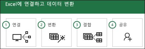 파워 쿼리 단계: 1) 연결, 2) 변환, 3) 결합, 4) 공유