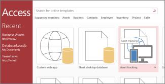 Access 시작 페이지에 있는 자산 관리 서식 파일