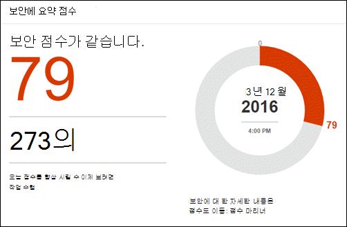 Office 365 보안 점수 도구의 홈 페이지에 표시 되는 보안 점수 요약