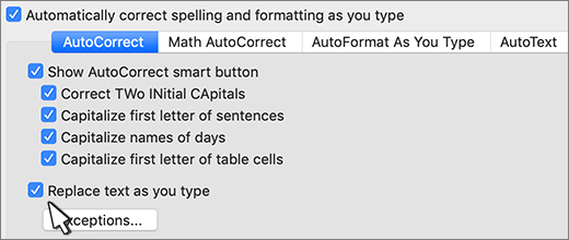 Mac 용 Word에서 입력할 때 자동으로 텍스트를 바꿉니다 확인란을 선택 합니다.