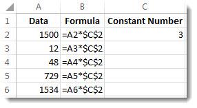 A 열의 숫자, $ 기호가 있는 B 열의 수식, C 열의 숫자 3