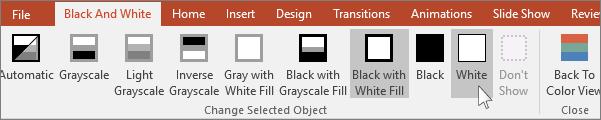 PowerPoint의 선택한 개체 변경 메뉴 표시