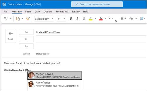 추가 @ 기호 및 사용자의 이름의 처음 몇 글자