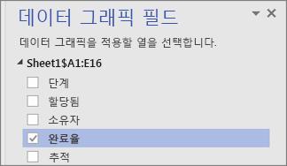 데이터 그래픽 필드 창, 완료율 필드가 확인 표시 및 선택됨