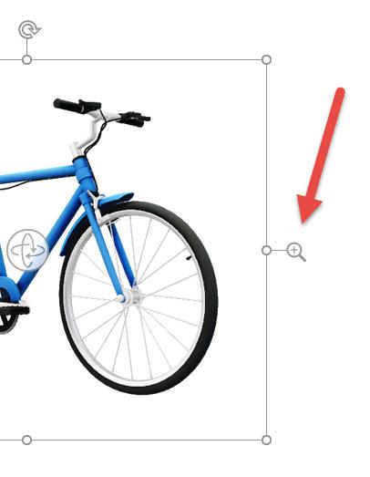 확대/축소 화살표를 사용하여 3D 이미지를 프레임 내에서 확대 또는 축소