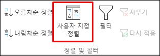 데이터 탭의 Excel 사용자 정의 정렬 옵션