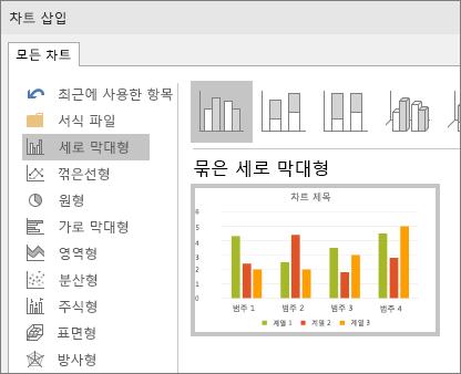 PowerPoint에서 세로 막대형 차트 선택 영역 표시
