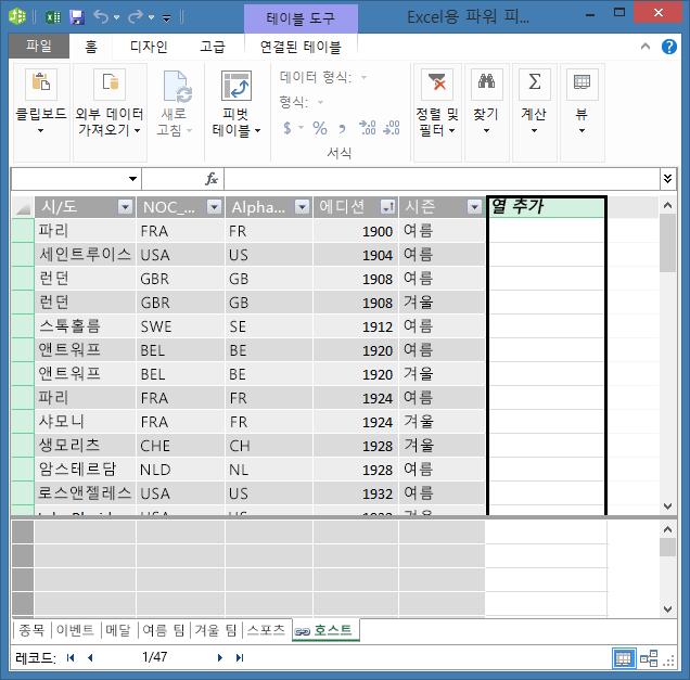 DAX를 사용하여 계산 필드를 만들기 위해 열 추가 사용