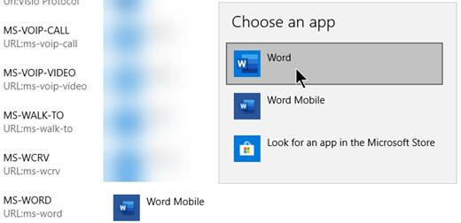 웹에서 서식 파일을 여는 프로토콜에 대 한 Word Mobile에서 Word로 전환