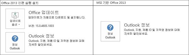 Office 2013 설치가 간편 실행과 MSI 기반 중에 어느 쪽인지 구분하는 방법을 보여 주는 그래픽