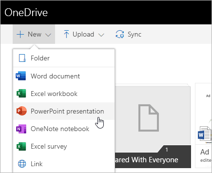 비즈니스용 OneDrive에서 파일 만들기