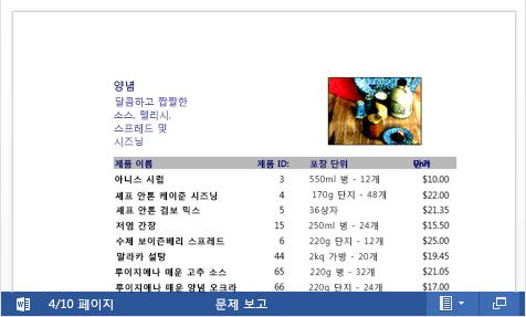 Word Online에 포함된 PDF 파일