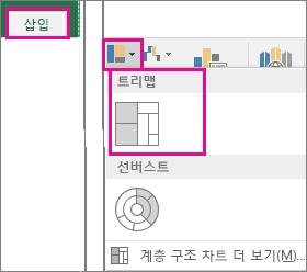 Windows용 Office 2016의 삽입 탭에 있는 트리맵 차트 옵션