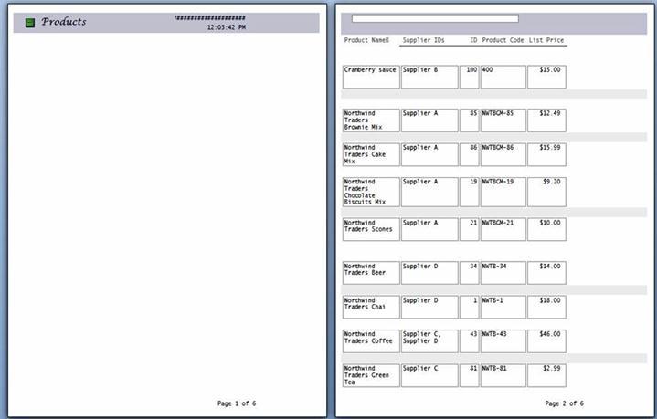 페이지 나누기가 적용된 보고서 페이지의 미리 보기