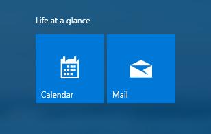 시작 화면의 일정 및 메일 앱