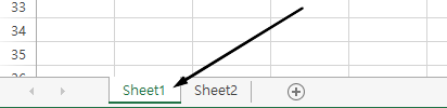 Excel 워크시트 탭 Excel 창의 맨 아래에 있습니다.