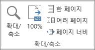 보기 탭의 확대/축소 그룹