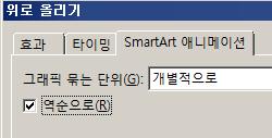 SmartArt 애니메이션 탭의 역순으로 확인란 부분