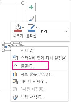 차트 범례 글꼴을 변경하는 데 사용하는 바로 가기 메뉴의 글꼴 명령