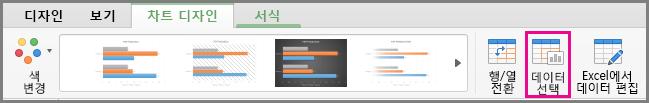 Mac용 Office 차트 데이터 선택