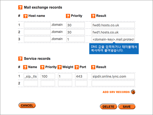Add/Modify DNS Zone 페이지에서 값을 입력합니다.