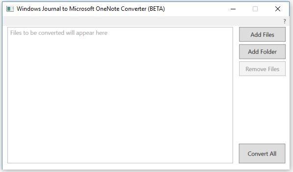 the screenshot of OneNote Converter (BETA) interface