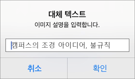 iOS용 Outlook 이미지에 대한 대체 텍스트 메뉴