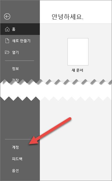 계정 옵션을 가리키는 화살표가 있는 Office의 파일 탭